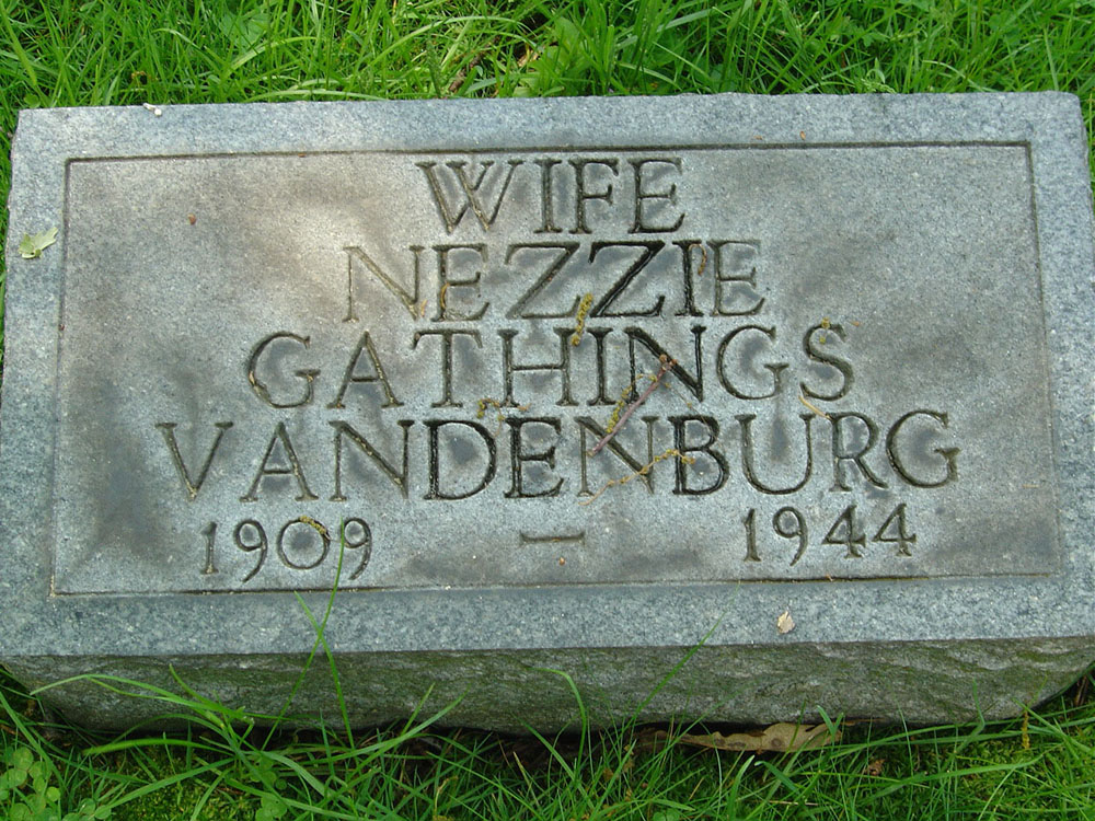 Nezzie Gathings Vandenburg Gravestone