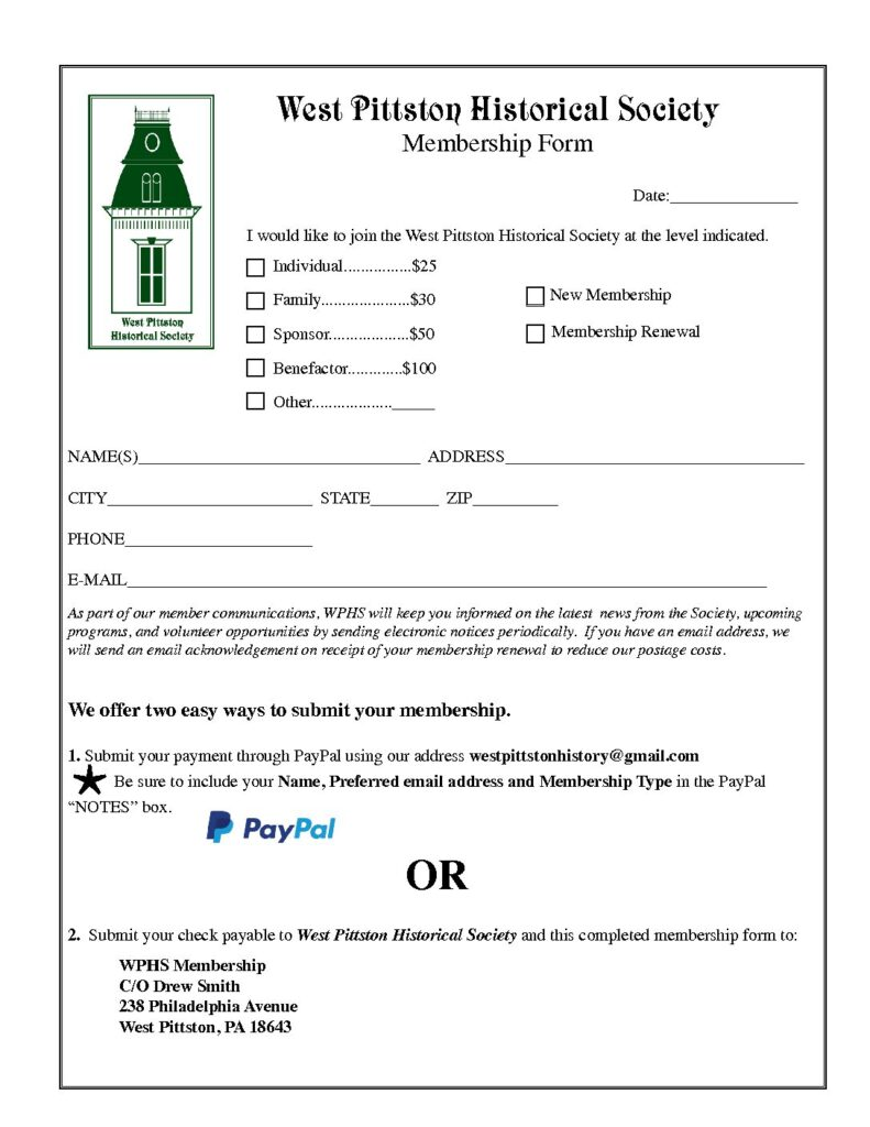 WPHS Membership Form Preview